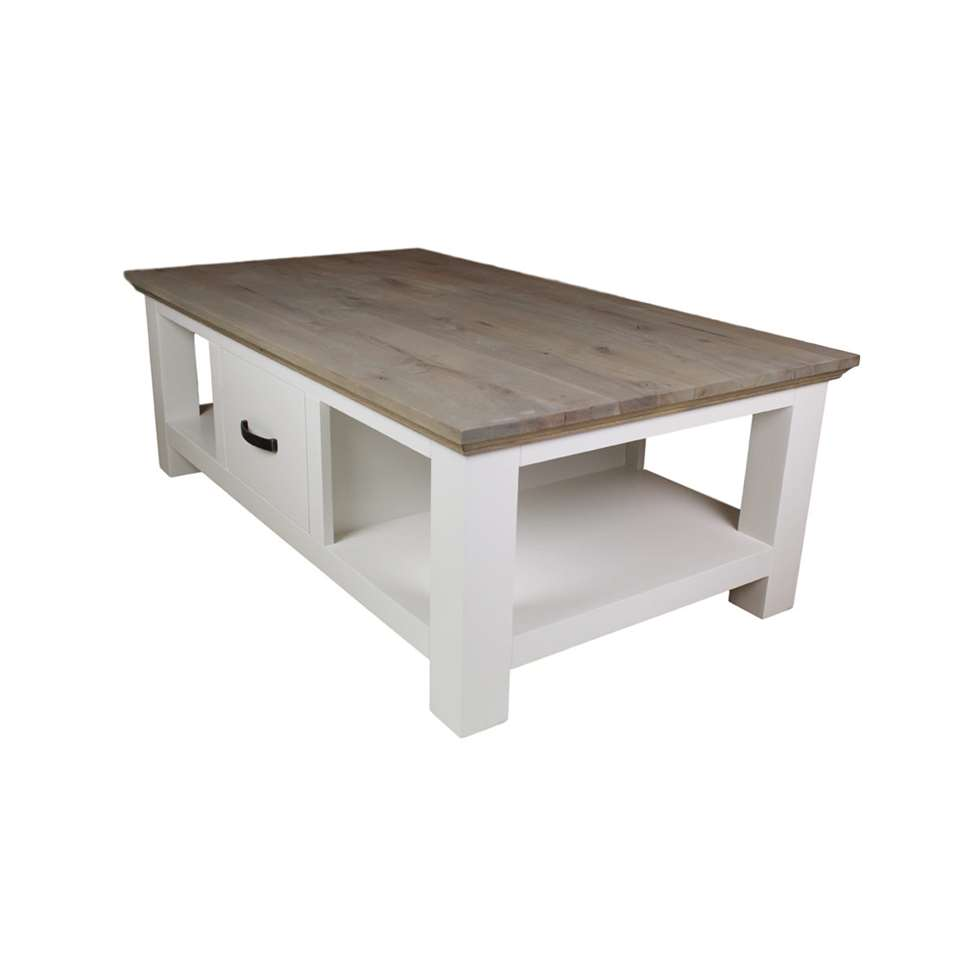 HSM Collection salontafel Provence - grijs eiken/wit - 130x75x45 cm - Leen Bakker