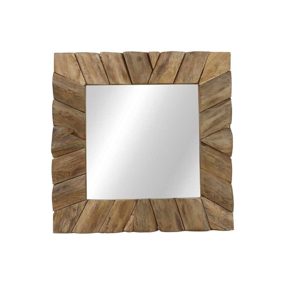 HSM Collection spiegel vierkant – naturel – 60x60x4 cm – Leen Bakker