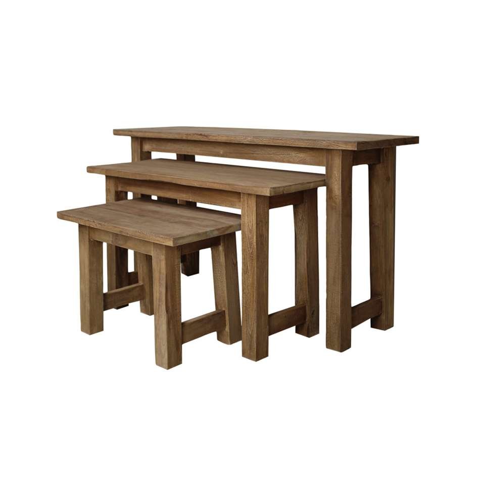 HSM Collection houten bankjes - blank - set van 3 - 100x30x55 cm - Leen Bakker
