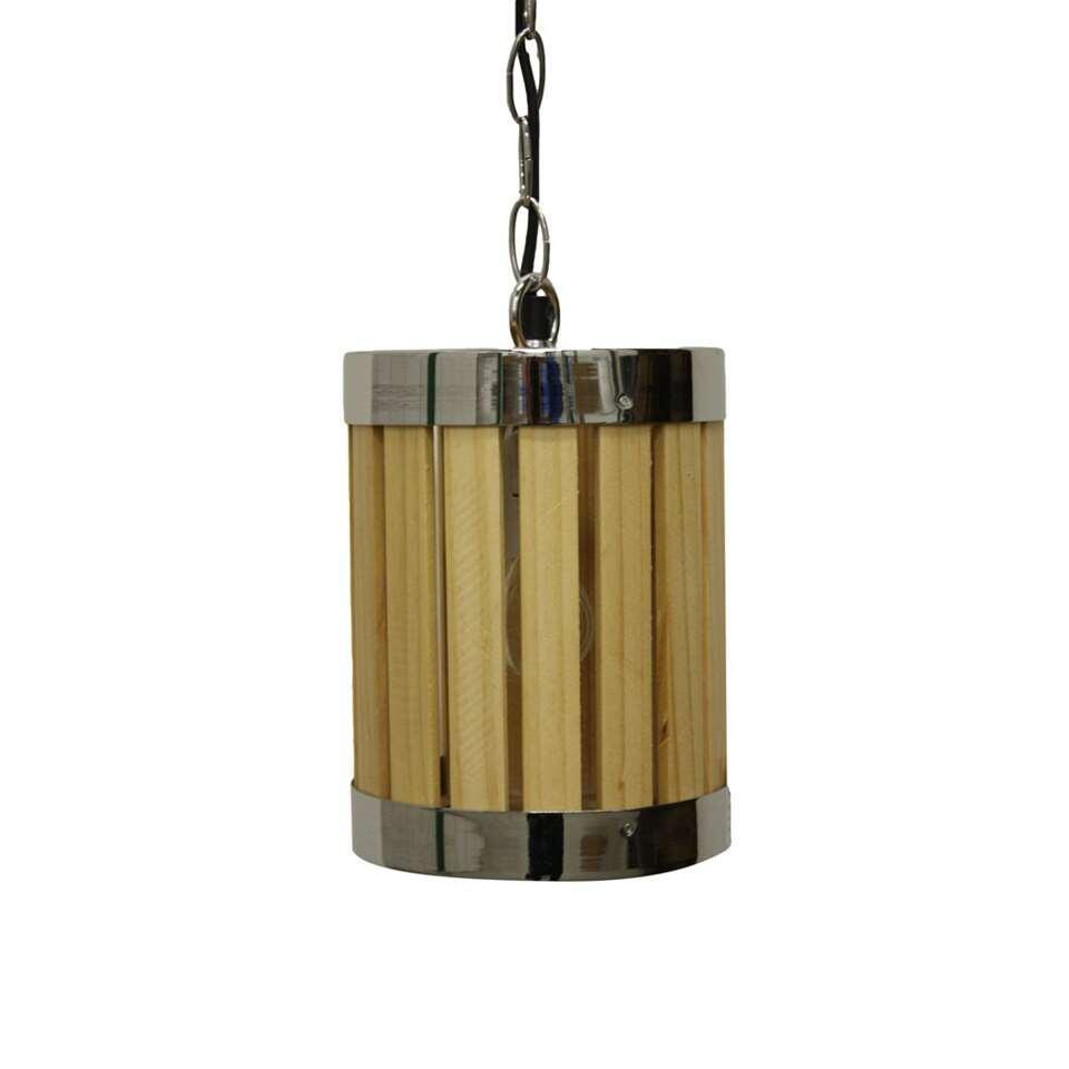 HSM Collection hanglamp - naturel/chroom Ø15x20 cm - Leen Bakker