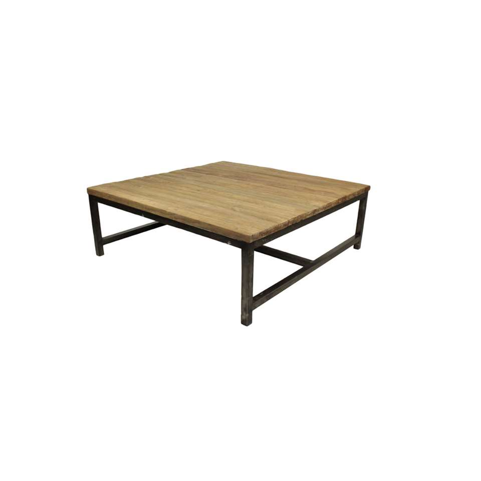 HSM Collection salontafel Dingklik - vintage/zwart - 100x100x35 cm - Leen Bakker