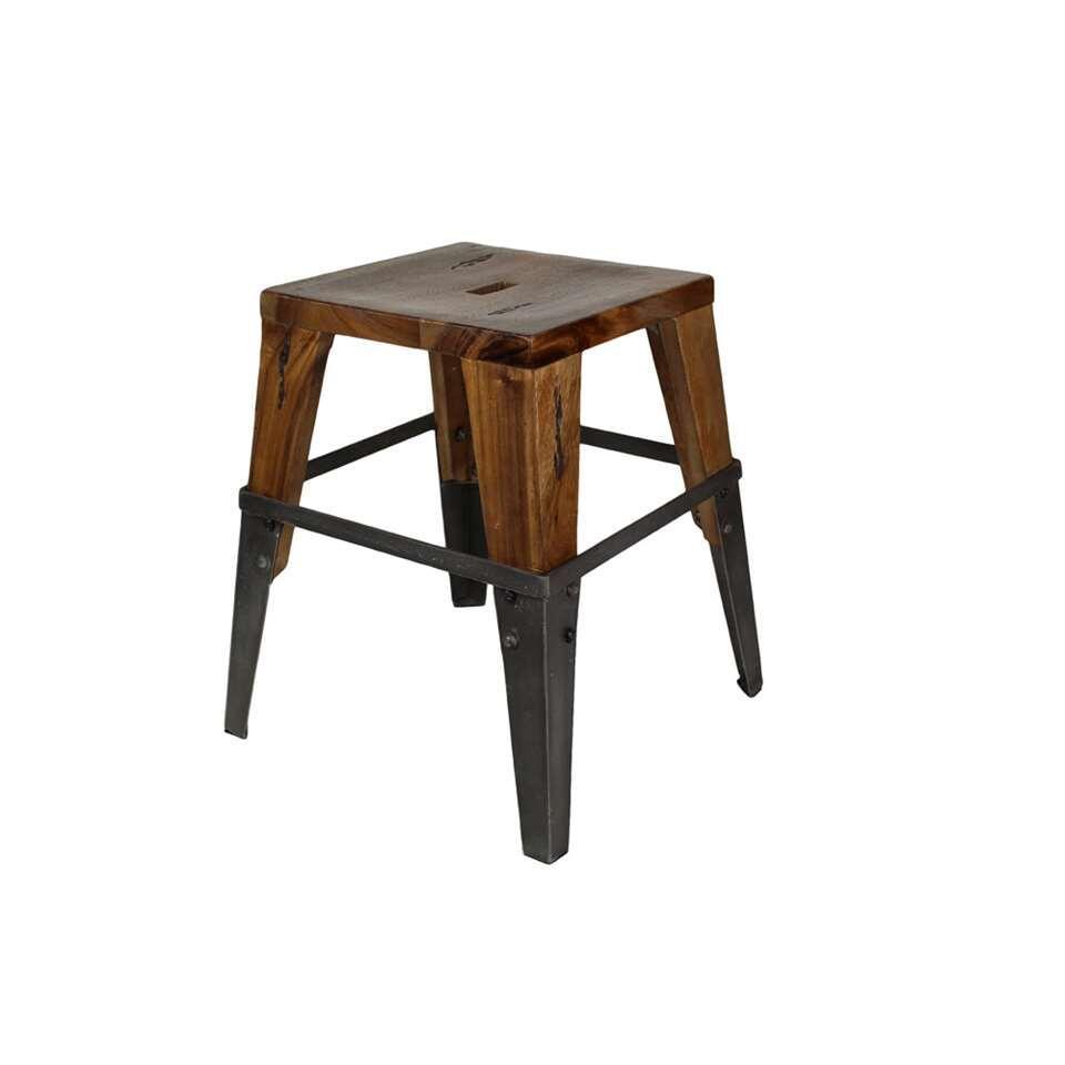 HSM Collection kruk Sagmore - bruin/zwart - 40x45x40 cm - Leen Bakker