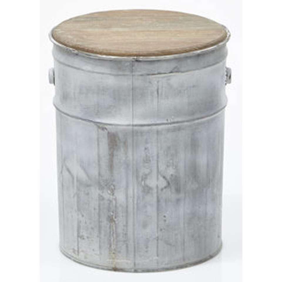 HSM Collection kruk Tin - oud grijs - 30x30x38 cm - Leen Bakker
