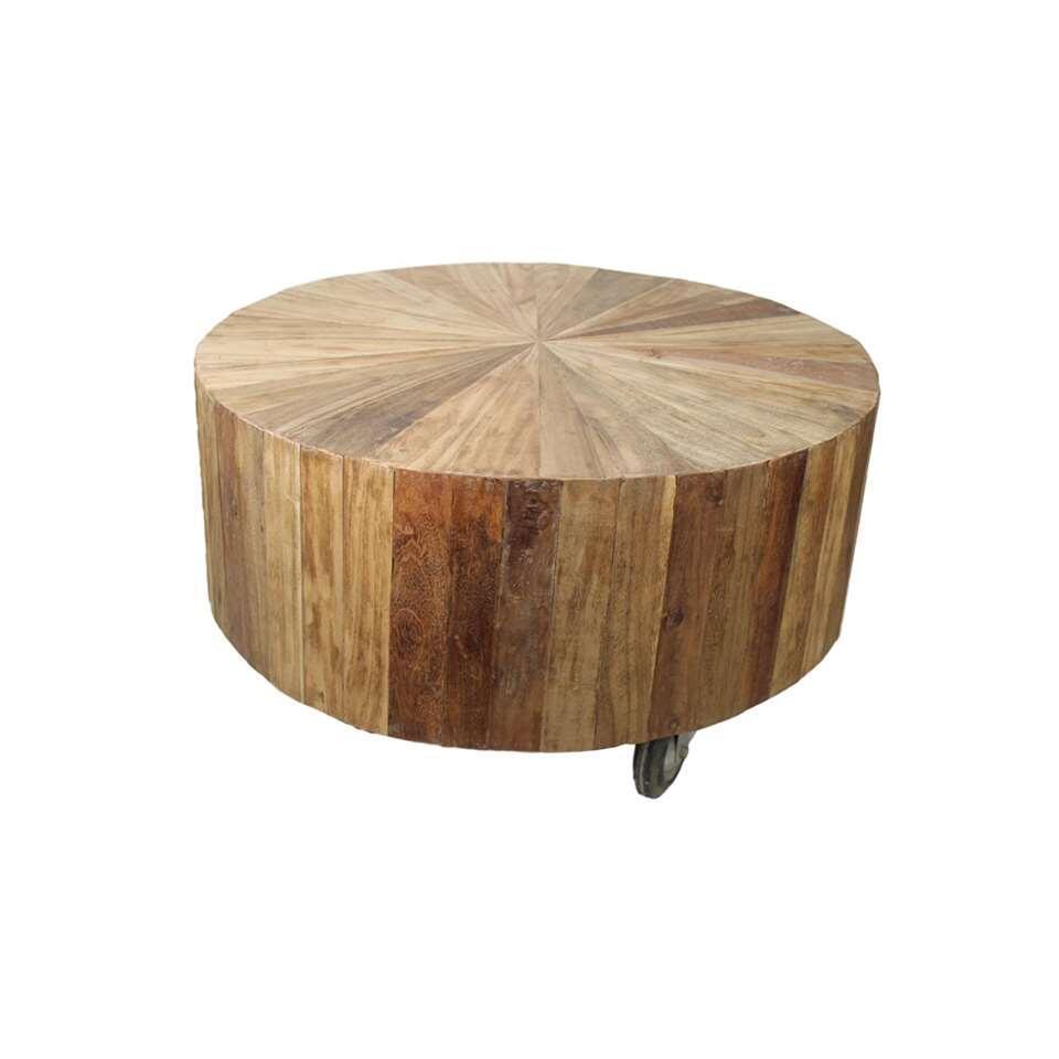 HSM Collection salontafel met wielen - blank - Ø80x48 cm - Leen Bakker