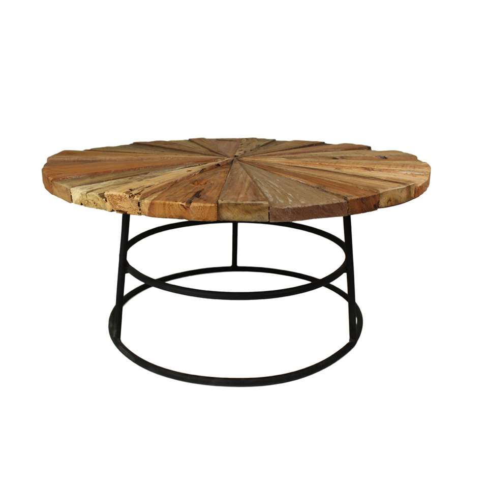 HSM Collection salontafel Sun rond onderstel - old wood mix - Ø80x40 cm - Leen Bakker
