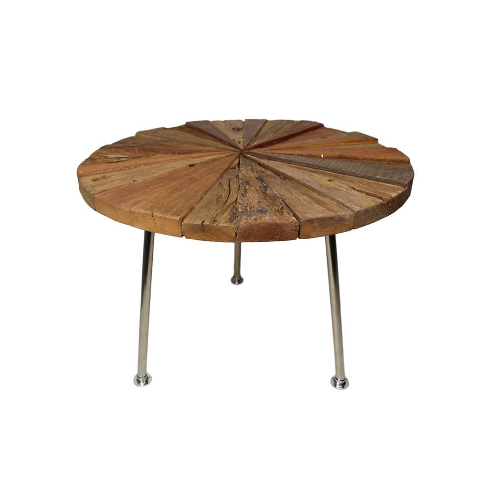 HSM Collection salontafel Sun - naturel/chroom - Ø60x45 cm - Leen Bakker