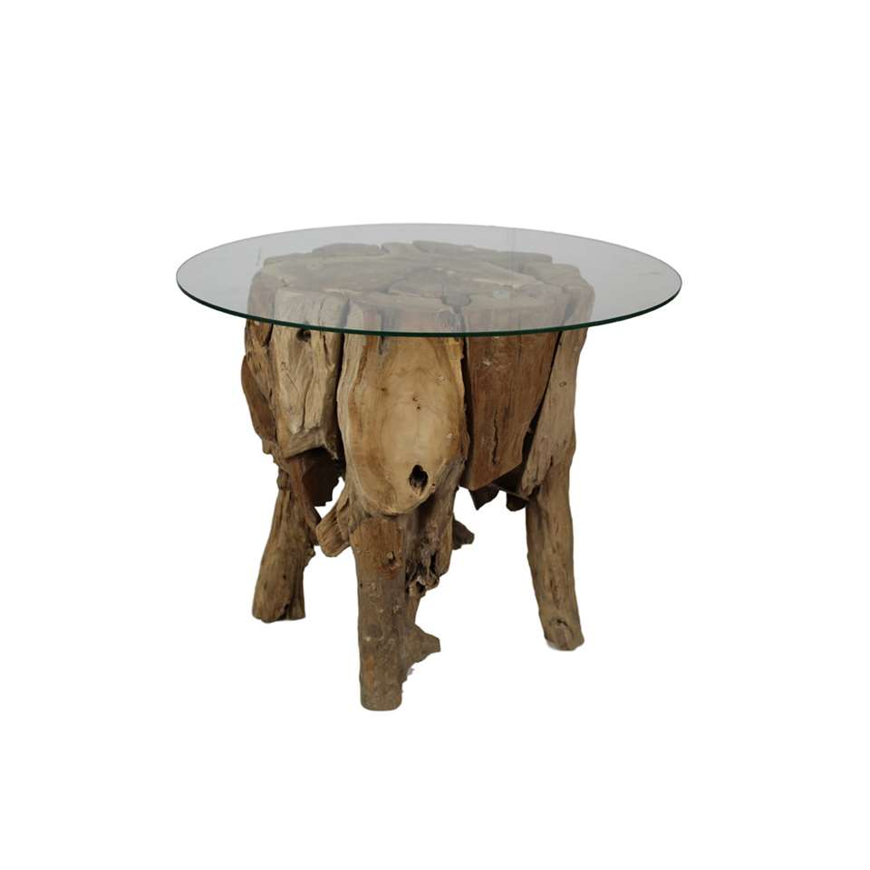 HSM Collection salontafel rond - naturel - glas - Ø65x60 cm - Leen Bakker