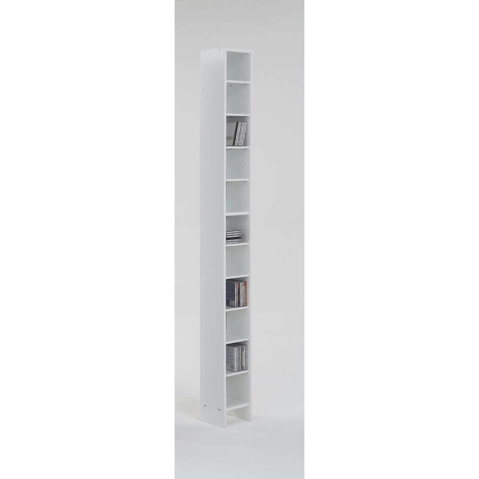 CD/DVD-kast Hallo - wit - 185x19,5x16,5 cm