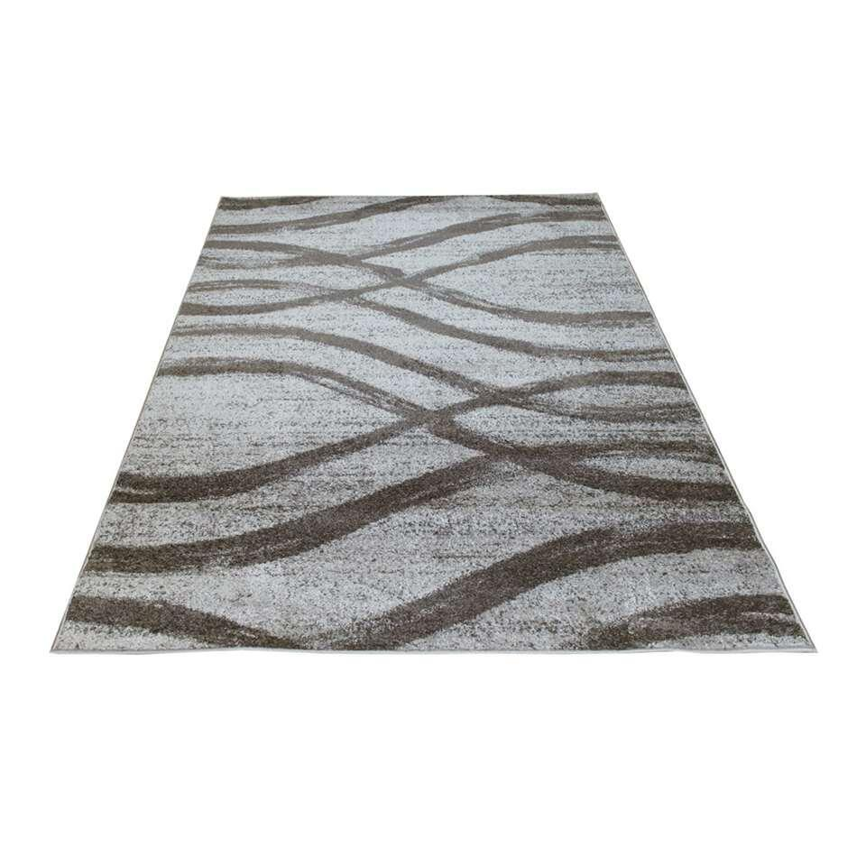 Vloerkleed Florence golvend - grijs/lichtgrijs - 200x290 cm - Leen Bakker