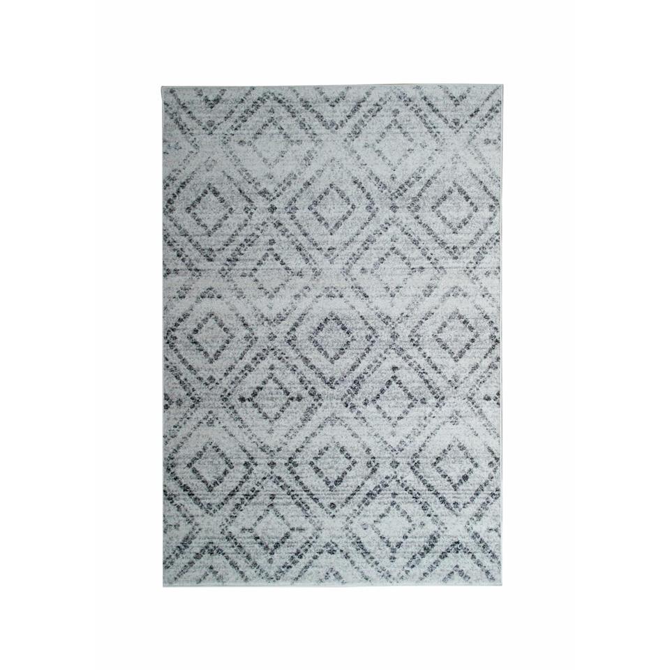 Vloerkleed Florence blokken - grijs - 200x290 cm - Leen Bakker