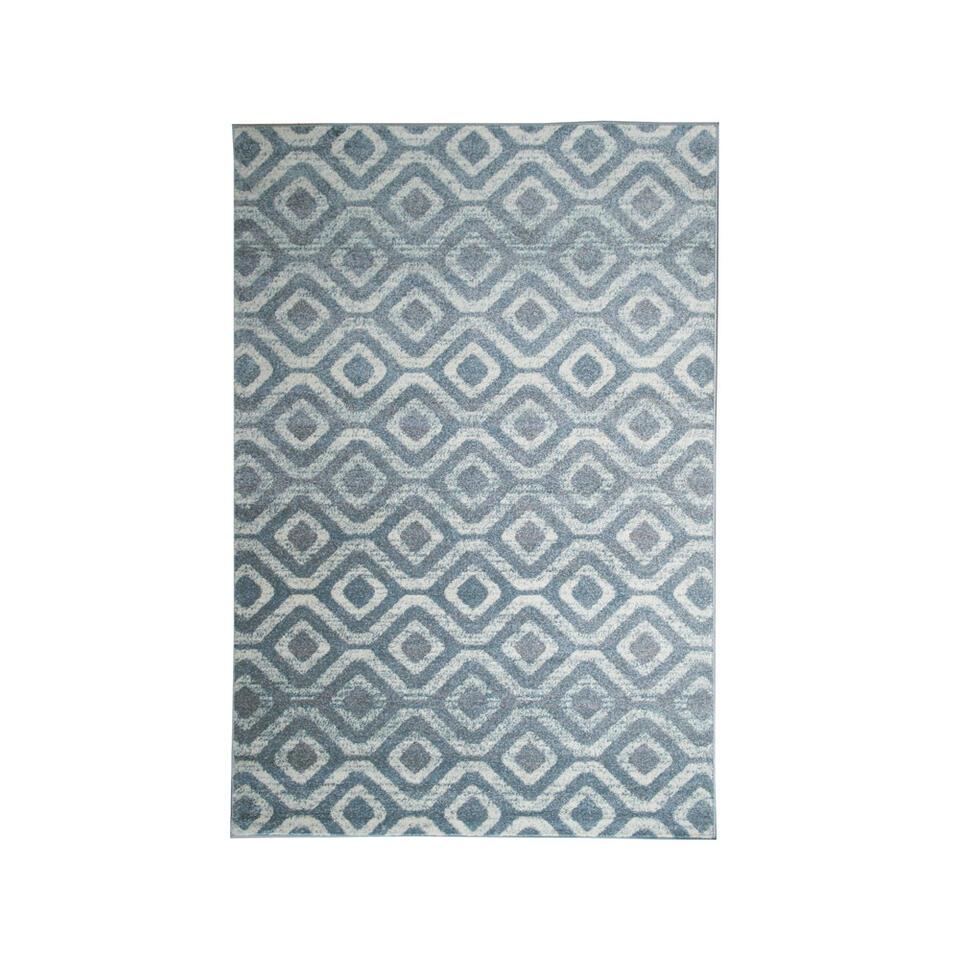 Vloerkleed Florence blokken - grijs/wit - 160x230 cm - Leen Bakker