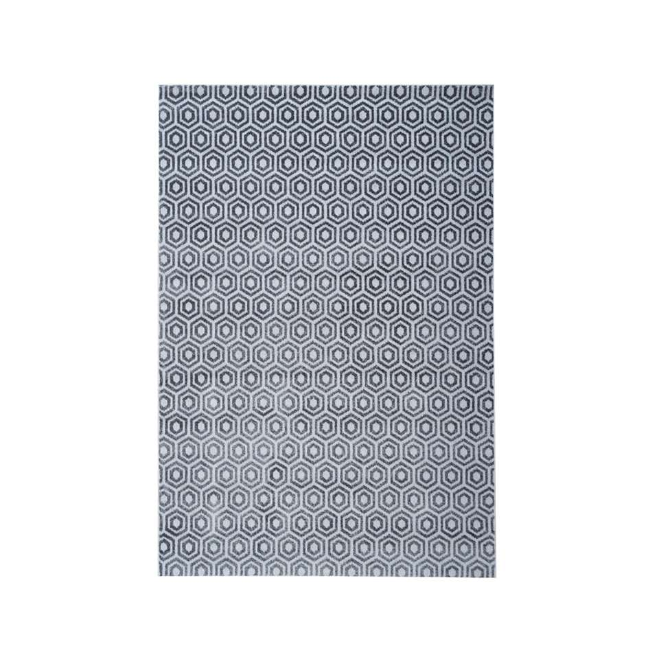 Vloerkleed Structura hexagon – grijs – 200×290 cm – Leen Bakker
