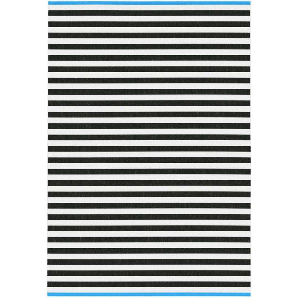 Binnen/buitenvloerkleed Domaso streep - blauw - 200x290 cm - Leen Bakker