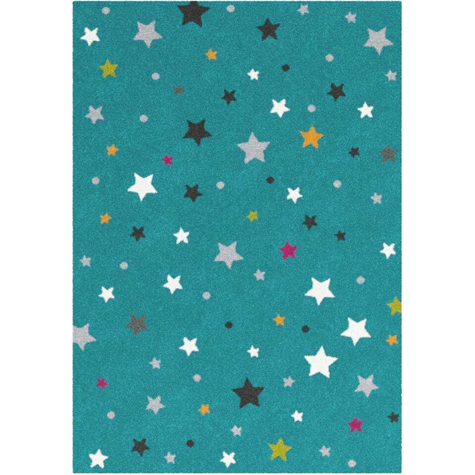 Vloerkleed Sterren - blauw/groen - 120x170 cm