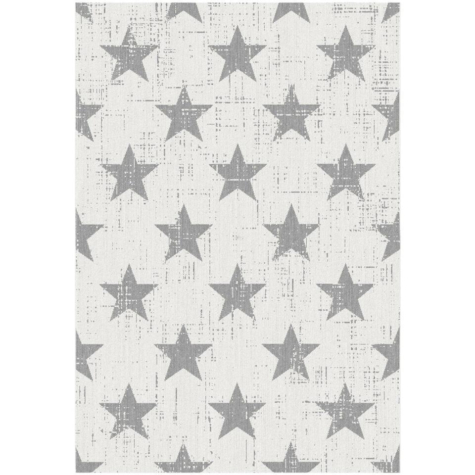 Vloerkleed Maleo is een vlakgeweven afwasbaar vloerkleed dat zowel binnen als buiten gelegd kan worden. Het kleed is trendy, crèmekleurig en heeft een sterren dessin, ideaal voor een kinderkamer.