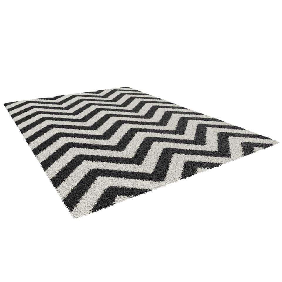 Vloerkleed Lauria - zwart/wit - 160x230 cm - Leen Bakker