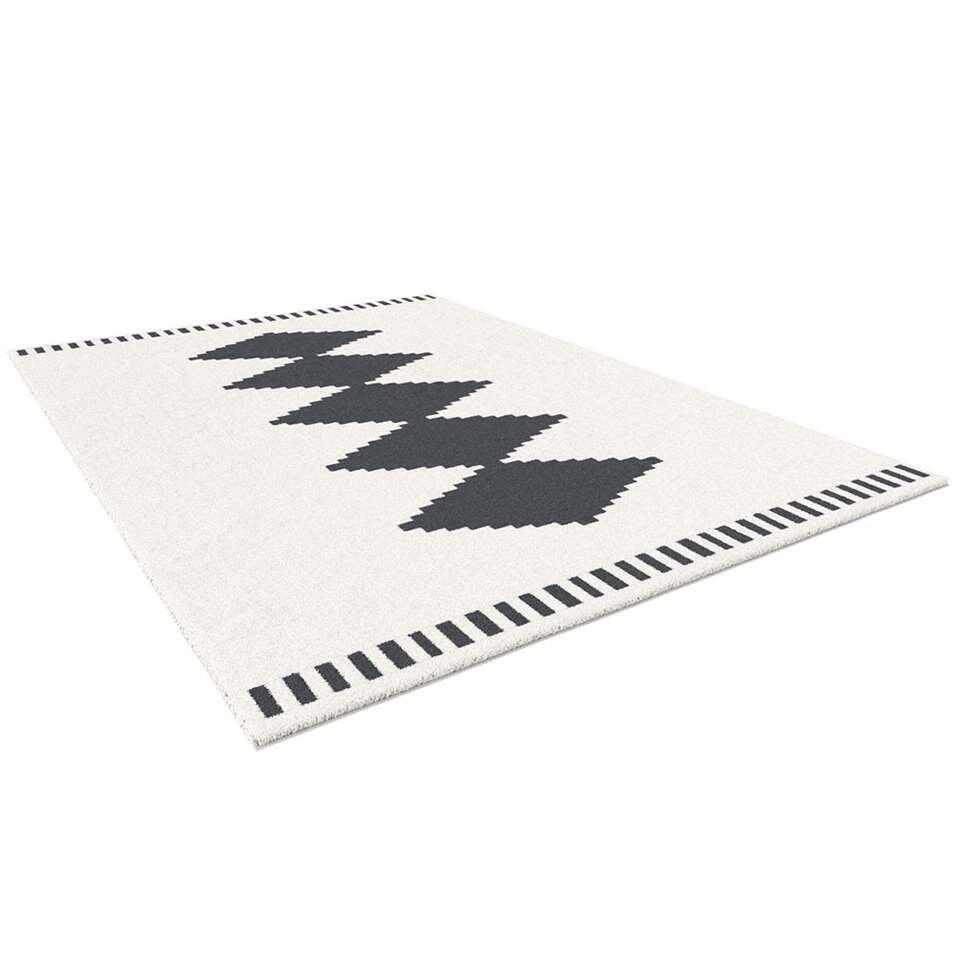 Vloerkleed Castana – zwart/wit – 160×230 cm – Leen Bakker