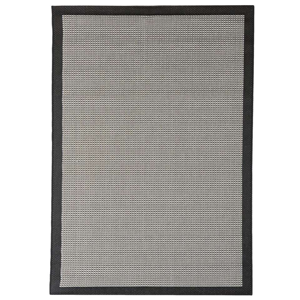 Floorita binnen/buitenvloerkleed Chrome - zwart - 135x190 cm - Leen Bakker