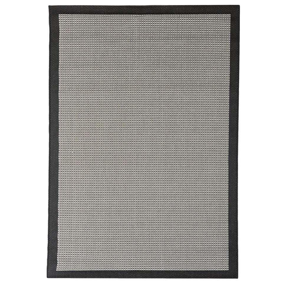 Floorita binnen/buitenvloerkleed Chrome - zwart - 200x290 cm - Leen Bakker