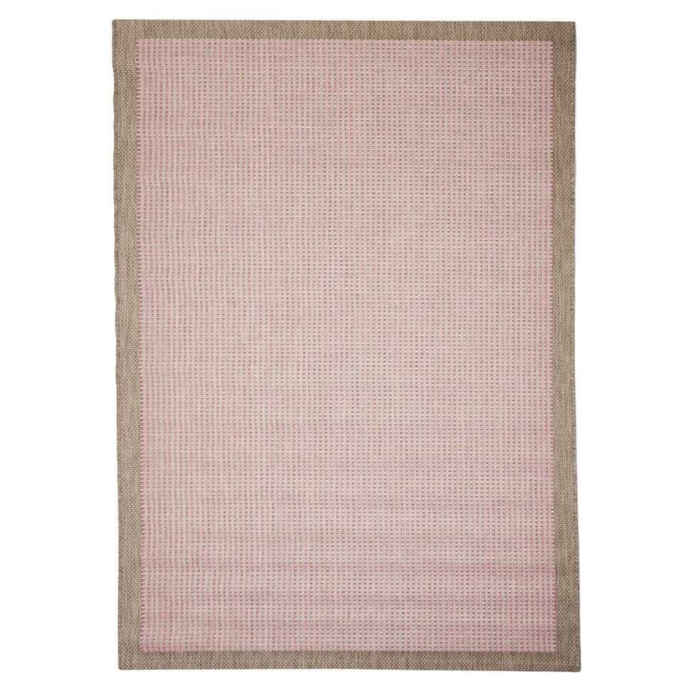 Floorita binnen/buitenvloerkleed Chrome - roze - 200x290 cm - Leen Bakker