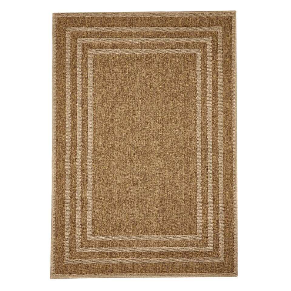 Floorita binnen/buitenvloerkleed Border - beige - 200x285 cm - Leen Bakker