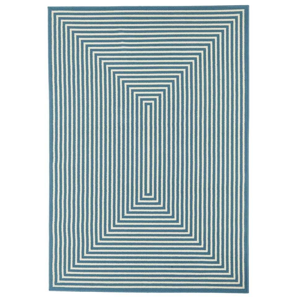 Floorita binnen/buitenvloerkleed Braid - lichtblauw - 160x230 cm - Leen Bakker