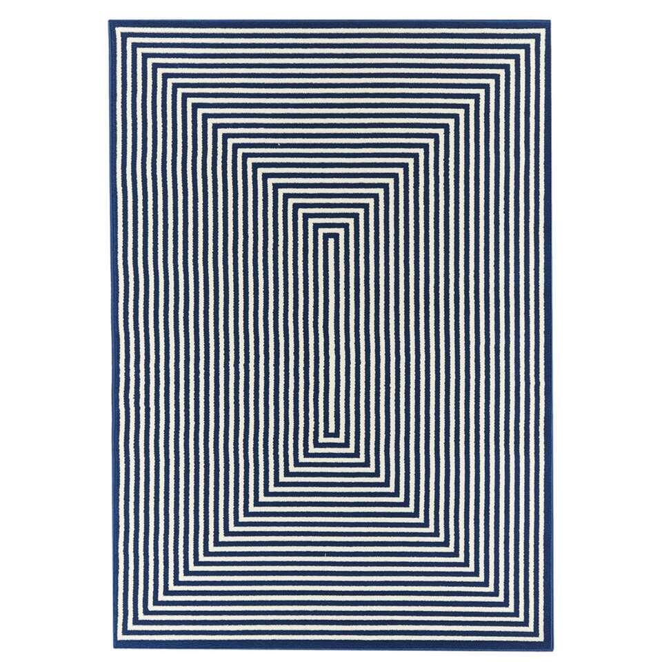 Floorita binnen/buitenvloerkleed Braid – marine – 200×285 cm – Leen Bakker