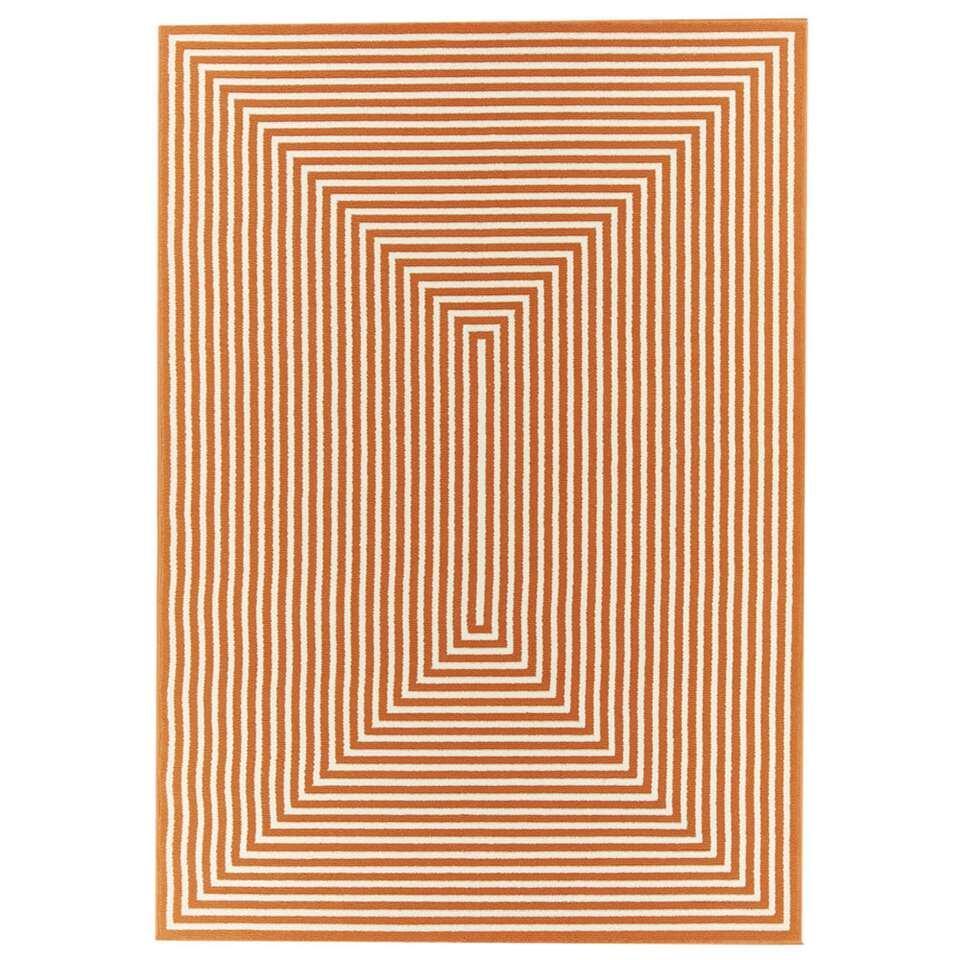 Floorita binnen/buitenvloerkleed Braid - oranje - 133x190 cm - Leen Bakker