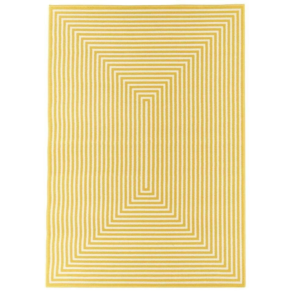 Floorita binnen/buitenvloerkleed Braid - geel - 200x285 cm - Leen Bakker
