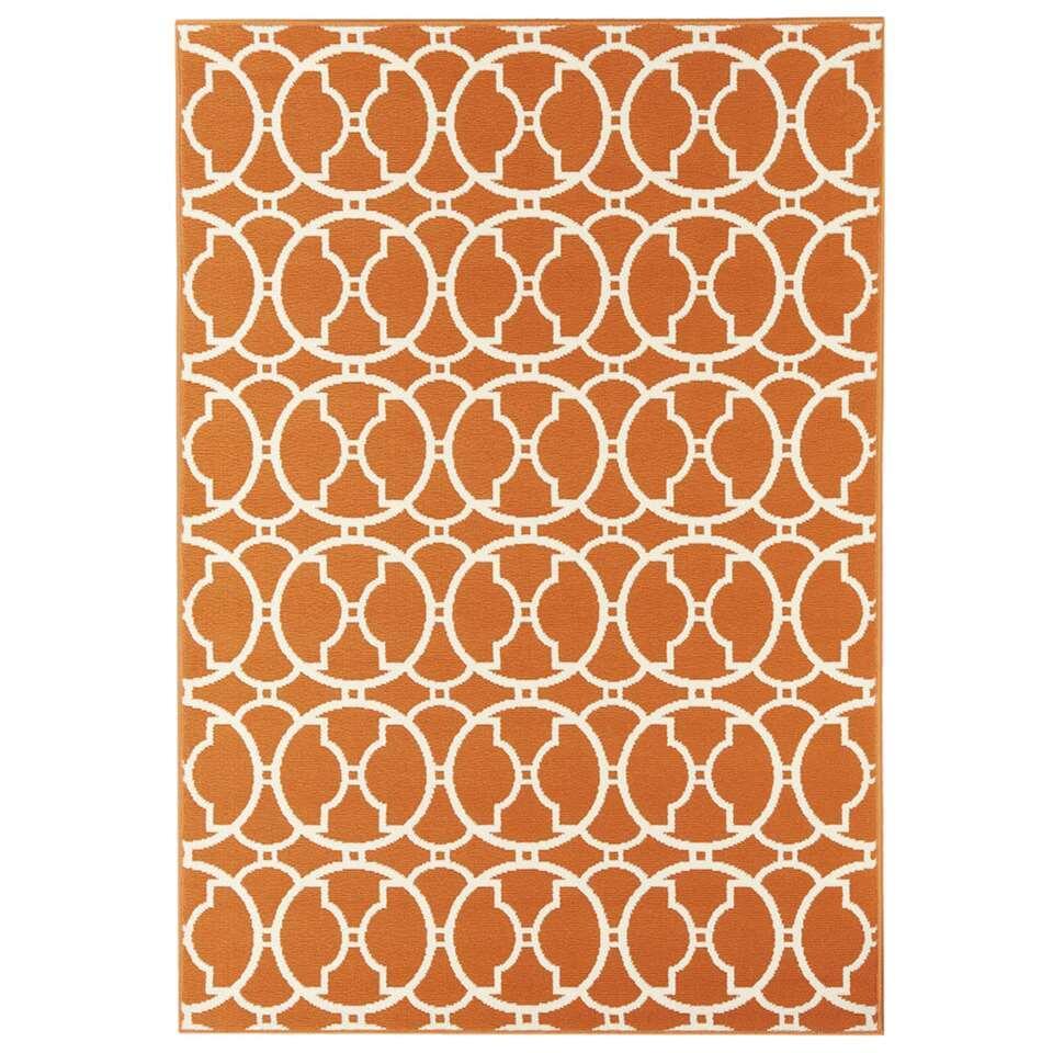 Floorita binnen/buitenvloerkleed Interlaced - oranje - 133x190 cm - Leen Bakker