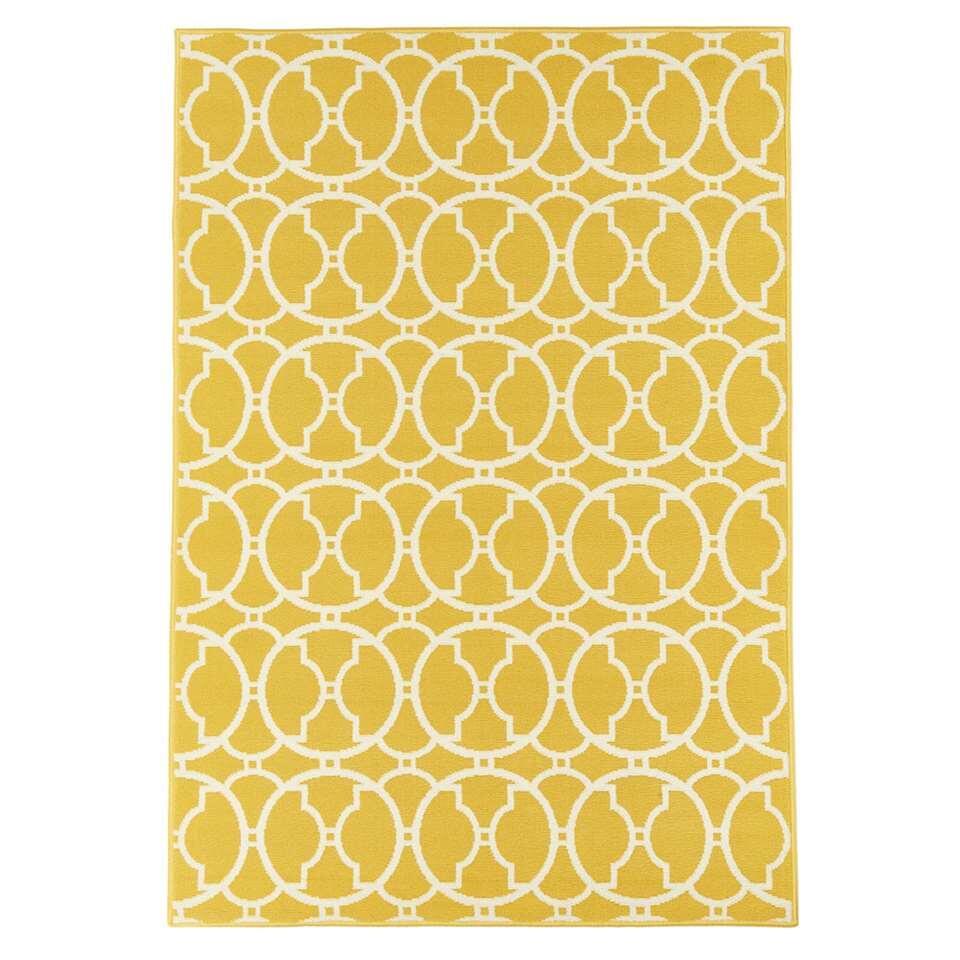 Floorita binnen/buitenvloerkleed Interlaced - geel - 160x230 cm - Leen Bakker