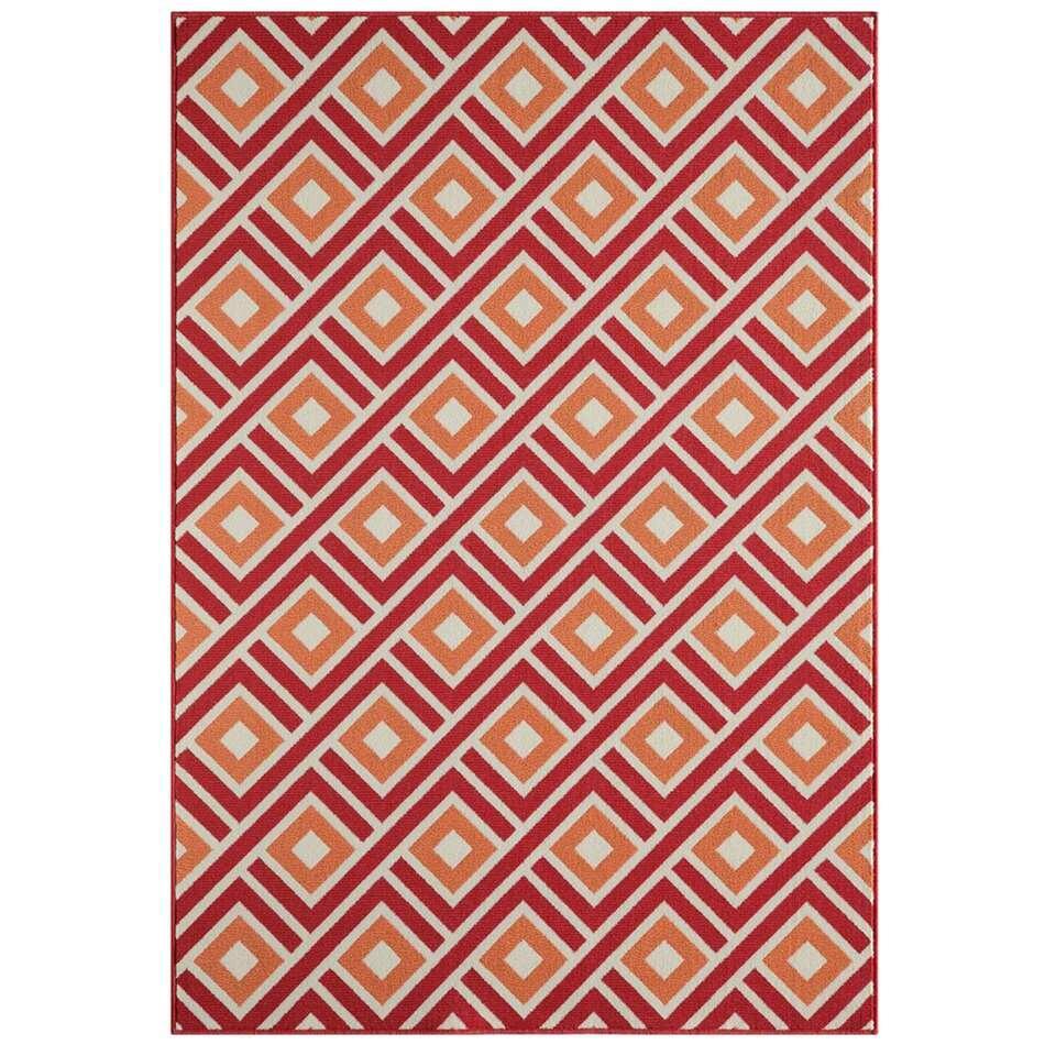 Floorita binnen/buitenvloerkleed Greca - rood - 133x190 cm - Leen Bakker