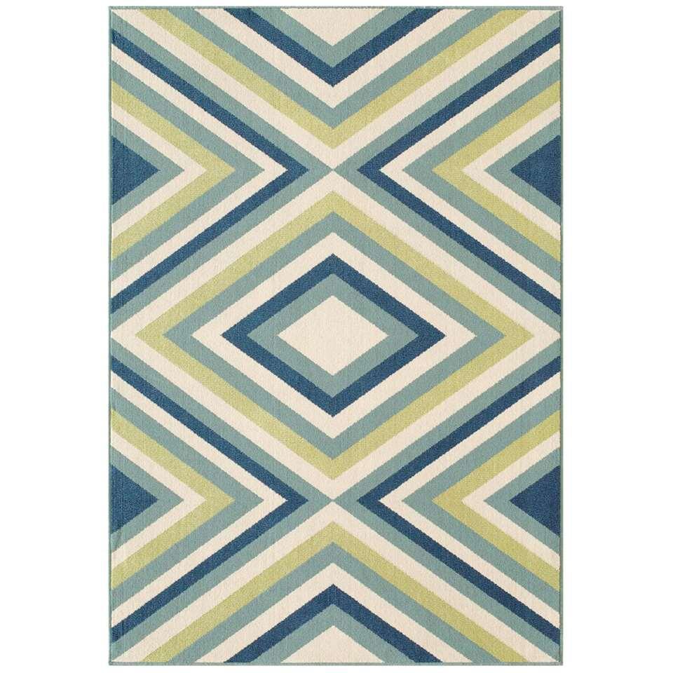 Floorita binnen/buitenvloerkleed Rombi - blauw/groen - 160x230 cm - Leen Bakker