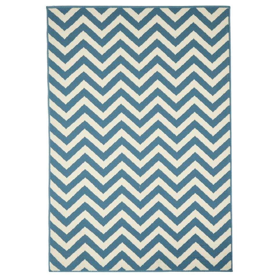 Floorita binnen/buitenvloerkleed Golf - lichtblauw - 133x190 cm - Leen Bakker