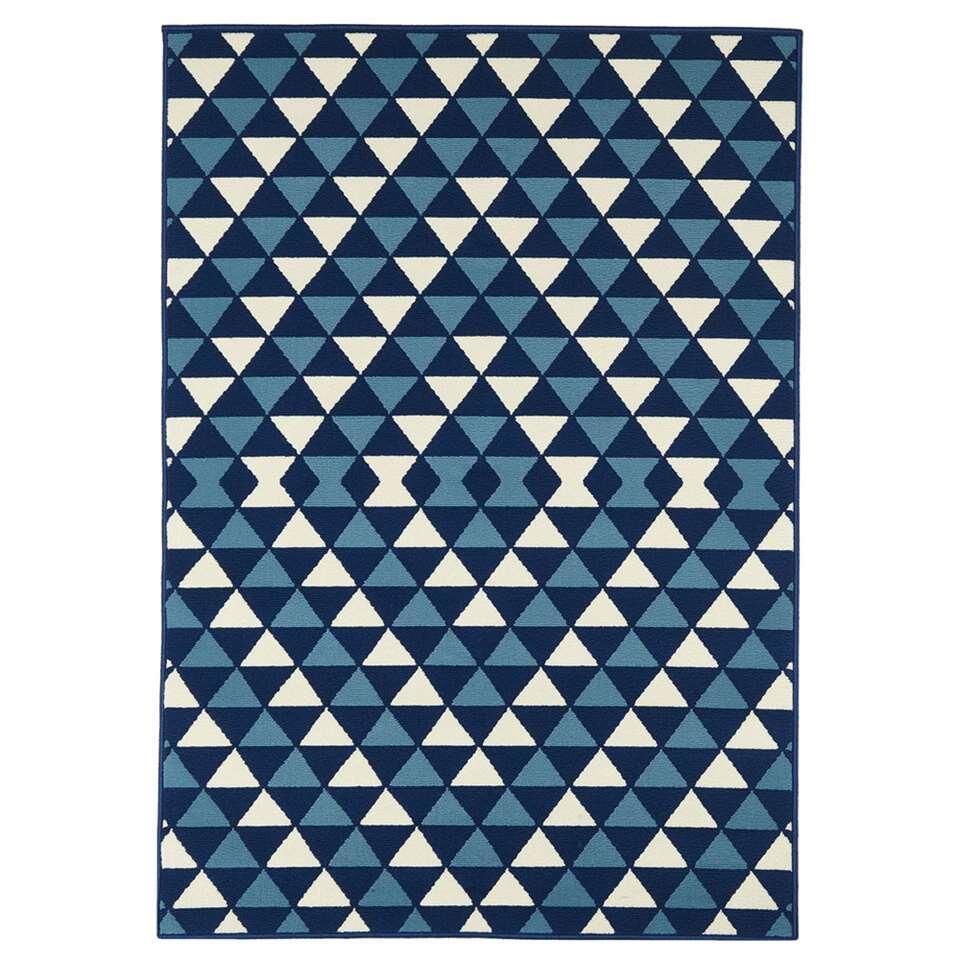 Floorita binnen/buitenvloerkleed Driehoek - marine - 160x230 cm - Leen Bakker