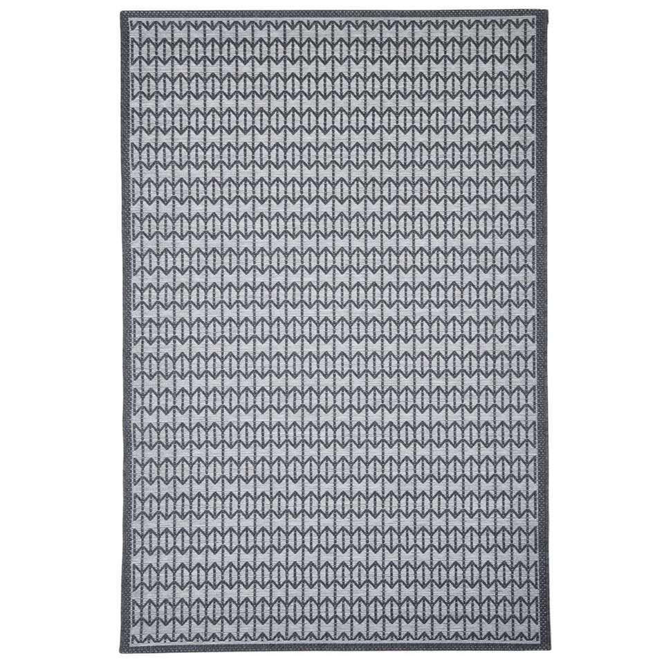 Floorita binnen/buitenvloerkleed Stuoia - antraciet - 155x230 cm - Leen Bakker