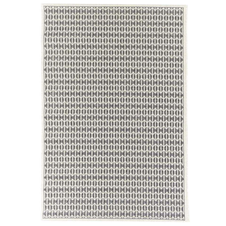 Floorita binnen/buitenvloerkleed Stuoia - ecru/zwart - 130x190 cm - Leen Bakker