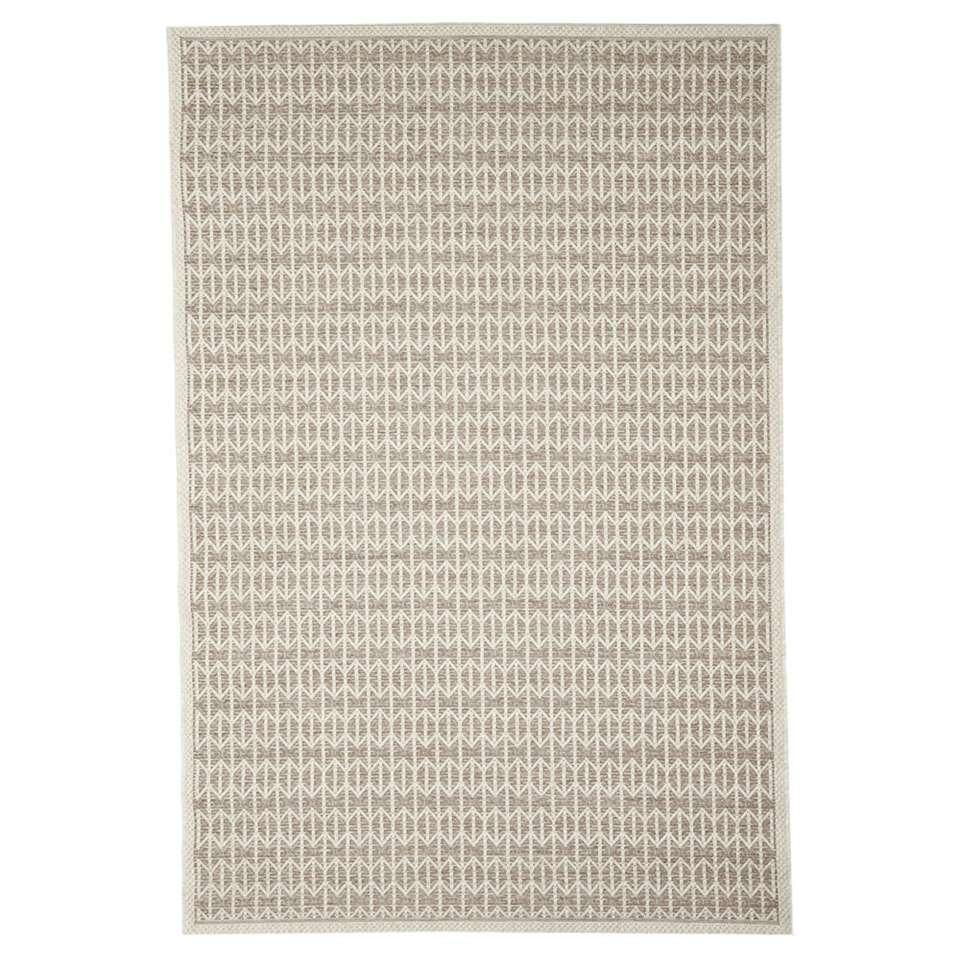 Floorita vloerkleed Stuoia is een zeer sterk vloerkleed voor zowel binnen als buiten in de kleur taupe met een afmeting van 155x230 cm.