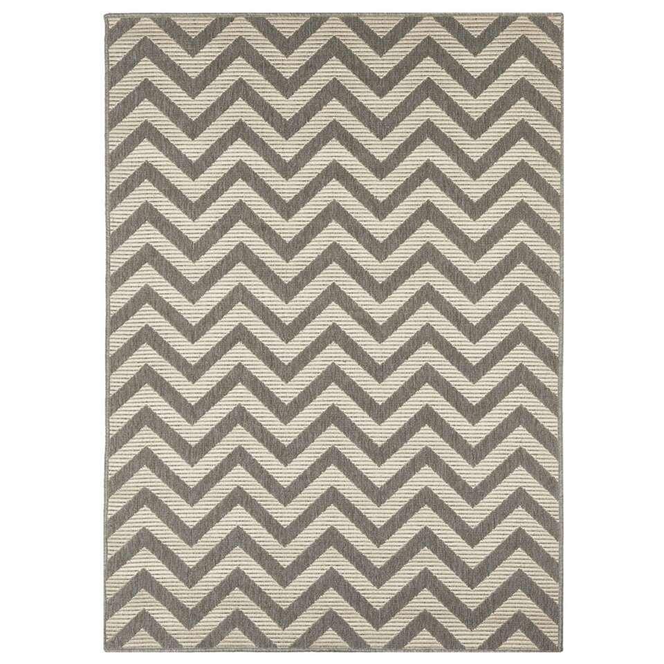 Floorita binnen/buitenvloerkleed Zigzag - grijs/ivoor - 133x190 cm - Leen Bakker