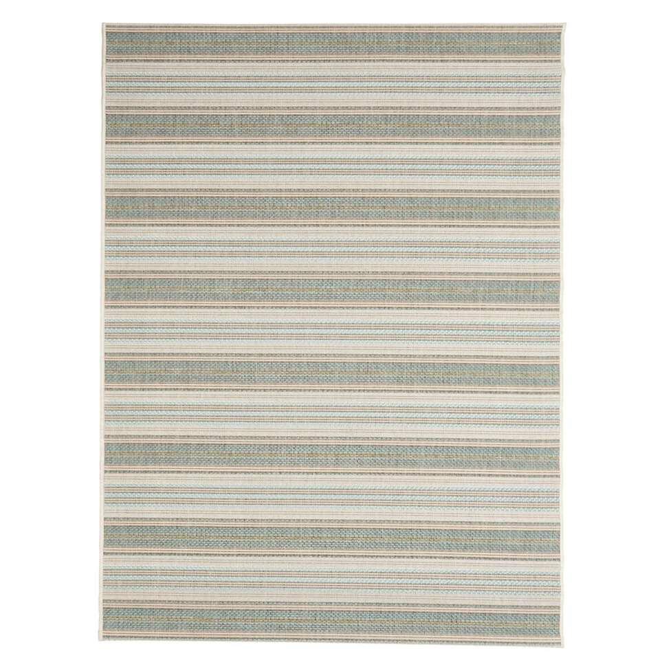 Floorita vloerkleed Riga is een zeer sterk vloerkleed voor zowel binnen als buiten in de kleuren groen en aqua met een afmeting van 160x230 cm.