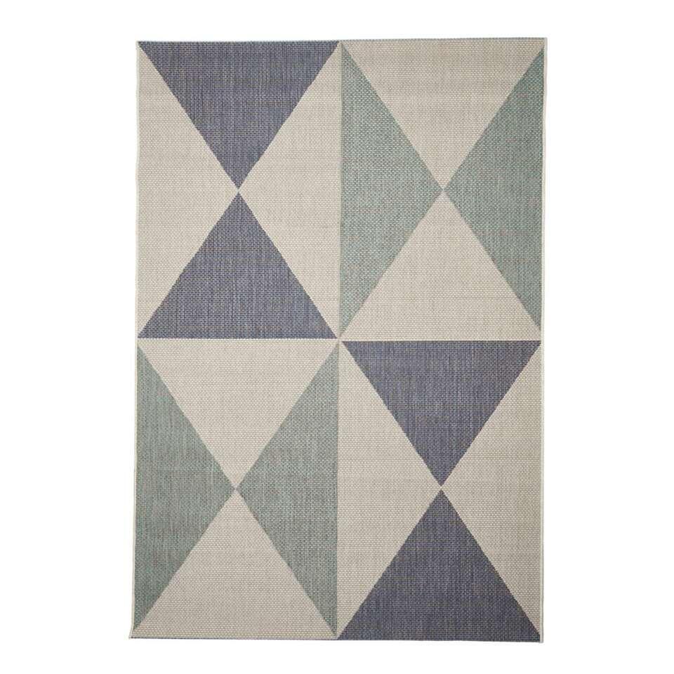 Floorita binnen/buitenvloerkleed Geo - blauw/aqua - 160x230 cm - Leen Bakker