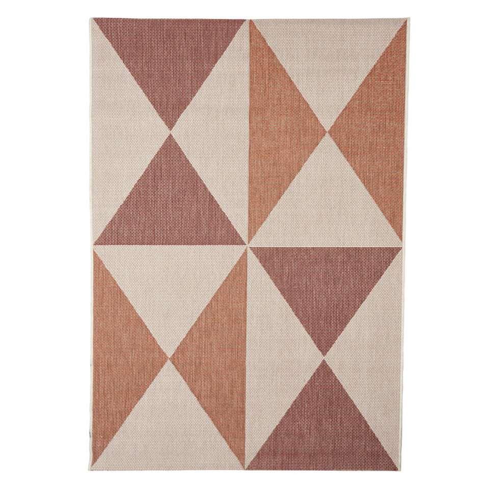 Floorita binnen/buitenvloerkleed Geo – roest/rood – 160×230 cm – Leen Bakker