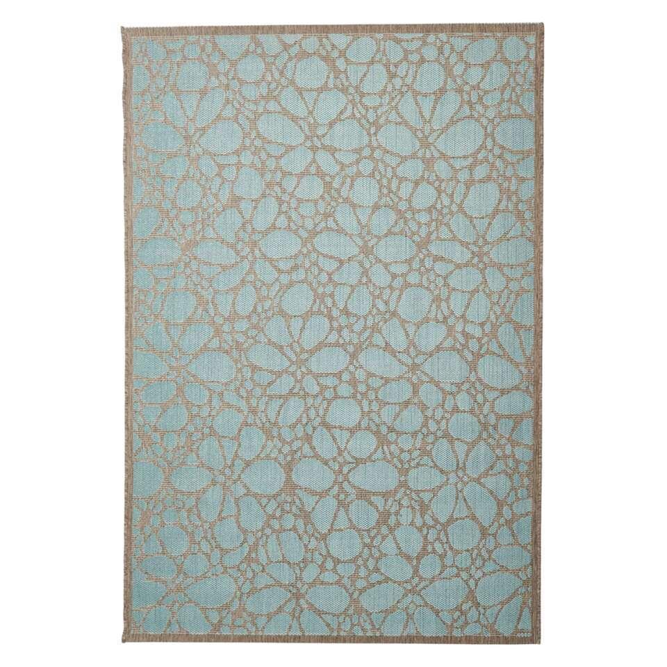 Floorita binnen/buitenvloerkleed Fiore - aqua - 135x190 cm