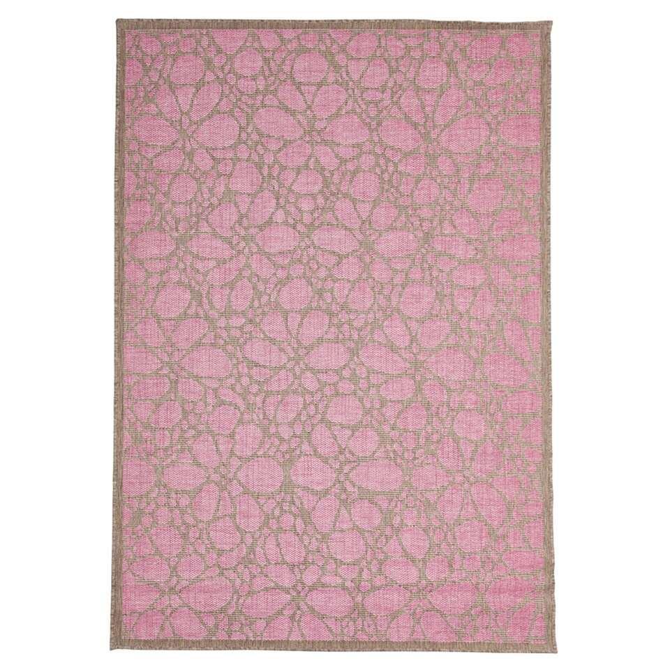 Floorita vloerkleed Fiore is een zeer sterk vloerkleed voor zowel binnen als buiten in de kleur roze met een afmeting van 135x190 cm.