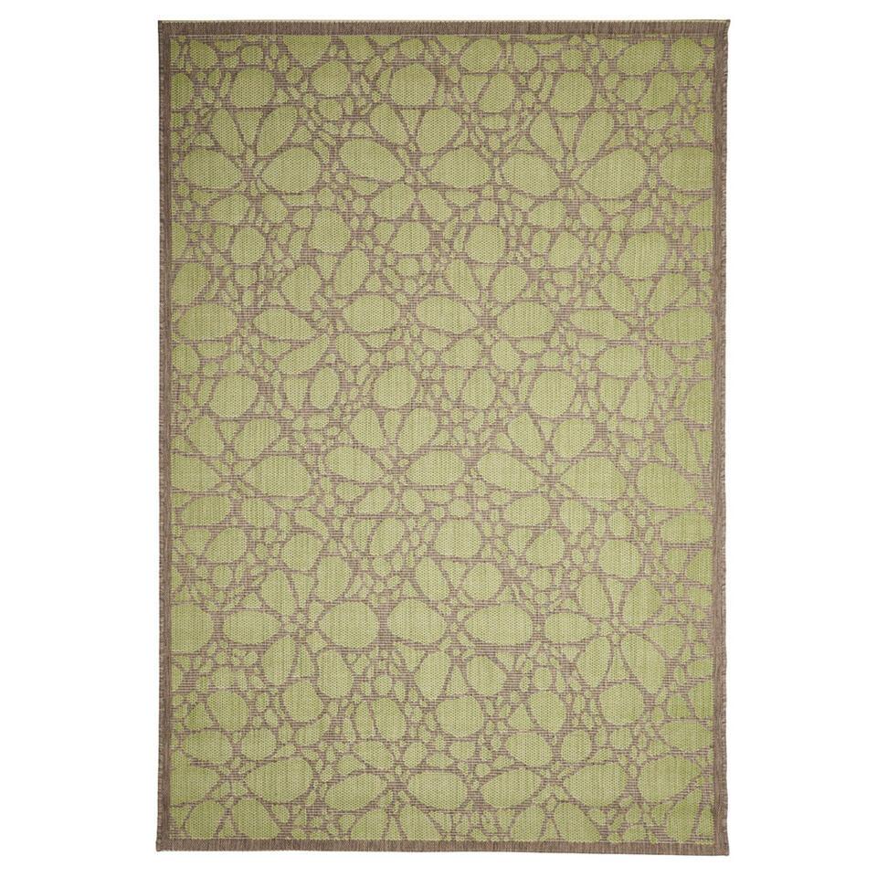 Floorita binnen/buitenvloerkleed Fiore - groen - 135x190 cm - Leen Bakker