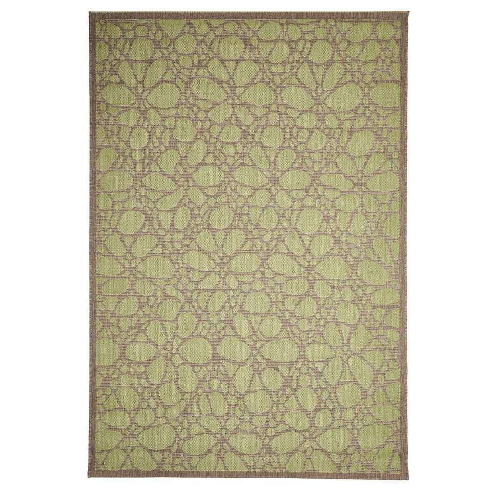 Floorita binnen/buitenvloerkleed Fiore - groen - 160x230 cm - Leen Bakker