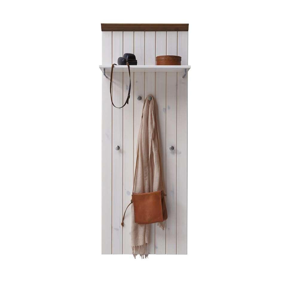 Kapstok Monaco is een handige wandgarderobe met een plankje voor bijvoorbeeld handschoenen en mutsen en haakjes voor het ophangen van jassen.