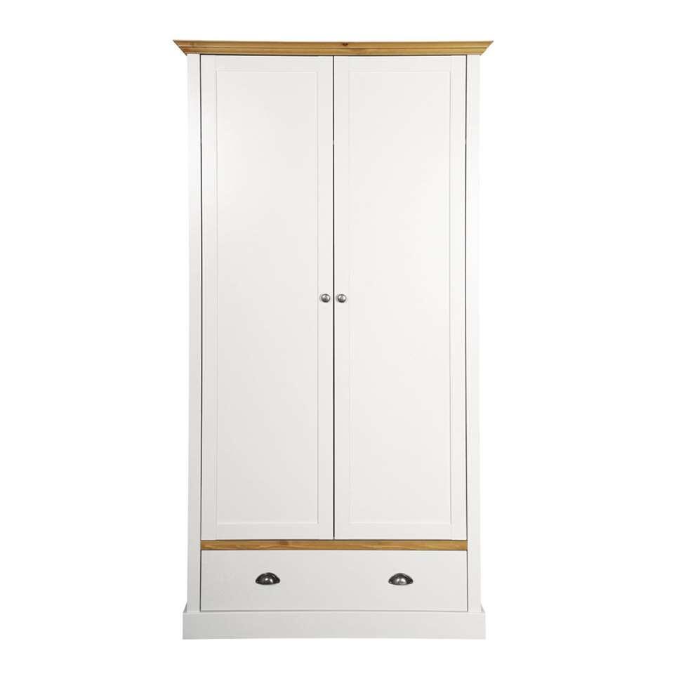 Kledingkast Sandringham 2-deurs - wit/wax - 192x104x58 cm - Leen Bakker