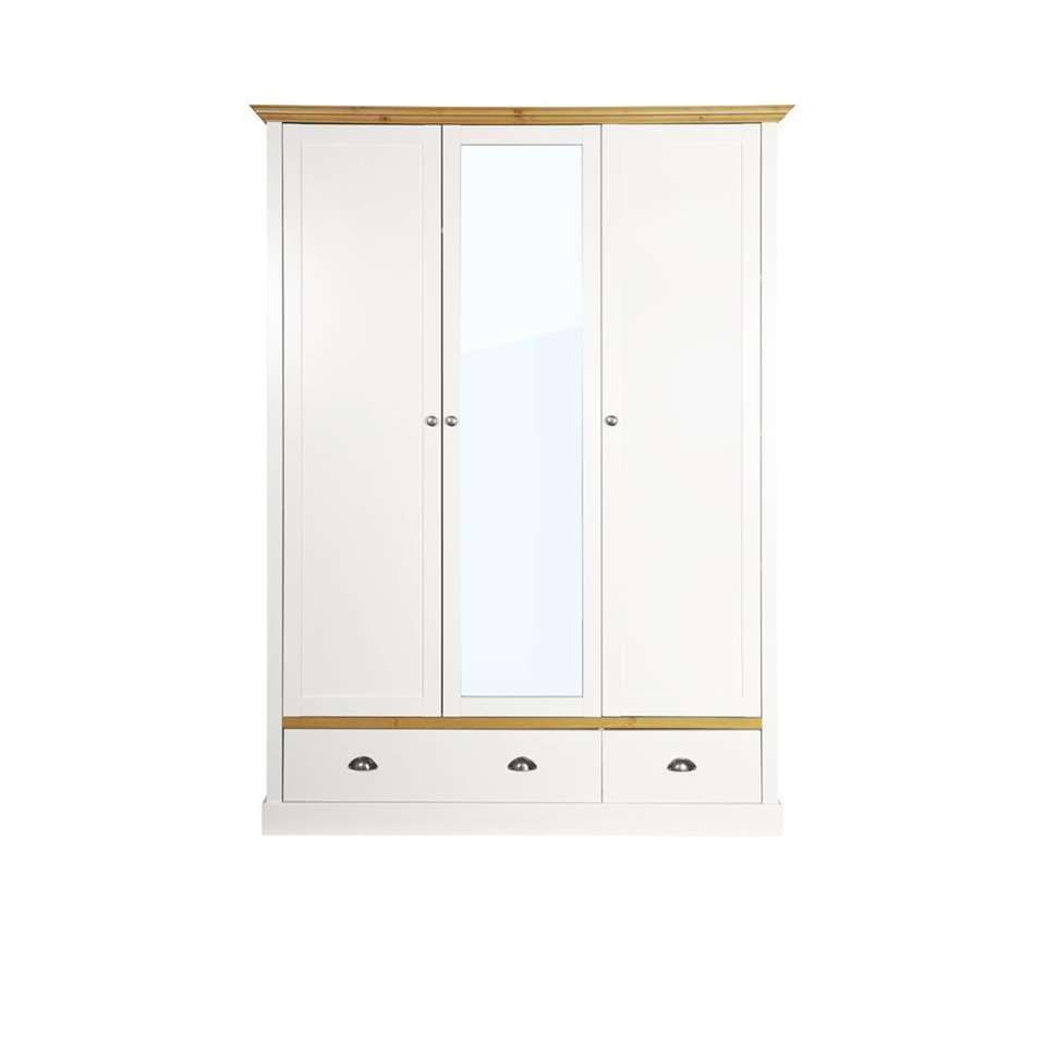 Kledingkast Sandringham 3-deurs - wit/wax - 192x148x58 cm - Leen Bakker