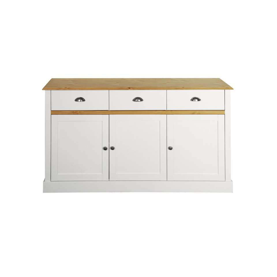 Dressoir Sandringham 3-deurs - wit/wax - 40x144x81 cm - Leen Bakker